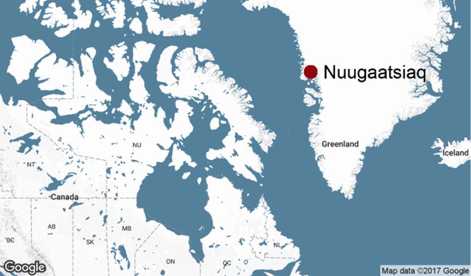 Die grönländische Westküste mit der Ortschaft Nuugaatsiaq. Die Baffin Bay und die Davisstrasse trennen Grönland und Kanada. Doch viele Bewohner auf beiden Seiten haben starke Verbindungen zueiander.