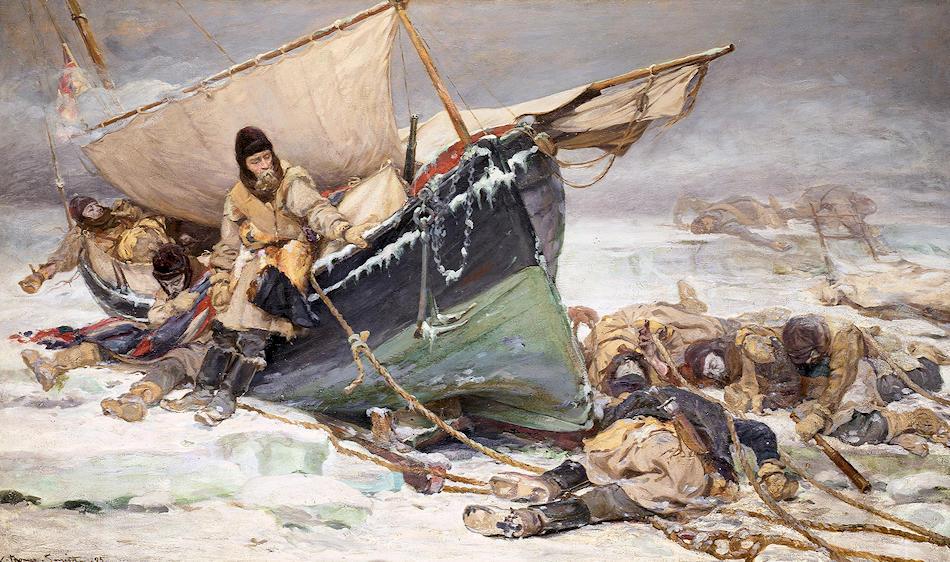 Über das Schicksal von Sir Franklin und seine Crew ist nicht viel bekannt und liess viel Raum für dramatische Bilder. Besonders das Bild von W. Thomas Smith über die letzten Überlebenden, die erst Jahre später entdeckt wurden, ist sehr bekannt. Bild: National Maritime Museum